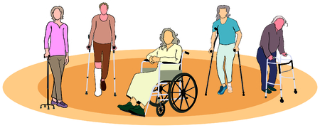 renounce: Group of people old men women with mobility aids tools