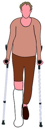 Un vieil homme aux jambes cassées en aide à la mobilité