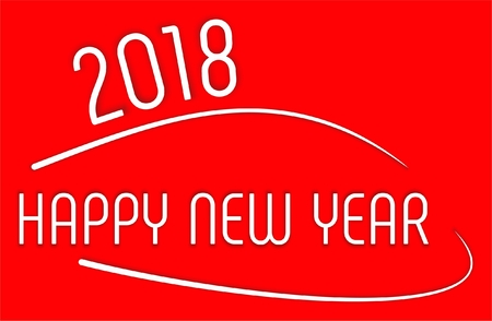 Happy New Year 2018 with bright red color and curve lines design