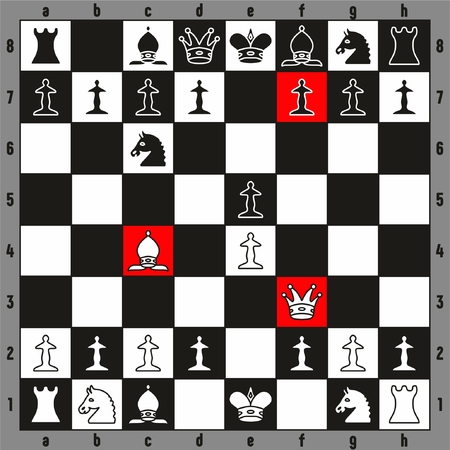 Chess napoleon Checkmate play fastest way to win beginner players illustration with chessboard and all pieces chessman including king queen rook bishop knight pawn for sport education