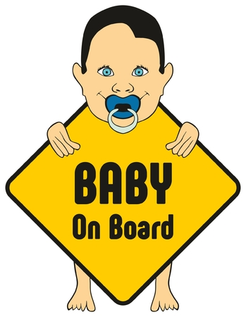 Baby on board sticker for cars to warn other drivers that kids are inside vehicle which apply extra safety feature new design of standing cute boy smiling and holding the sign with his pacifier Illustration