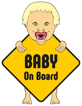 Baby on board sticker for cars to warn other drivers that kids are inside vehicle which apply extra safety feature new design of standing cute girl smiling and holding the sign with his pacifier Illustration