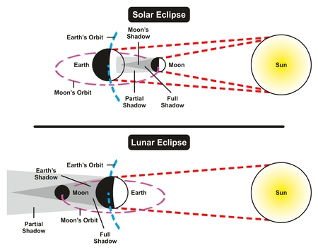 phase: Solar and Lunar Eclipse Comparison Infographic Diagram with all parts including sun earth moon showing full and partial shadow areas for astronomy science education
