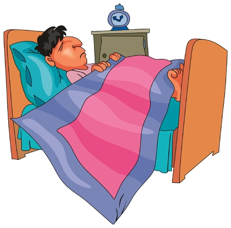 Boy or man sleeping on his bed late night with pillow blanket and alarm clock cartoon characteristic a unique comic character can be useful for caricature and education for kids or adults