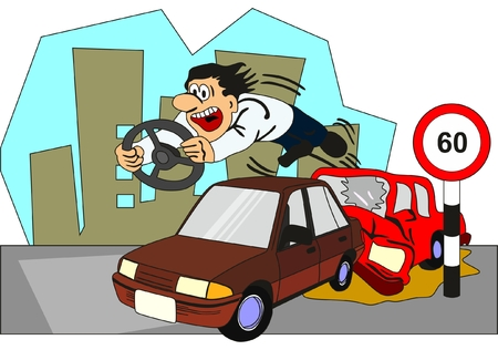 Car Accident Conceptual Drawing showing two vehicles involved and the driver of backside car thrown out from the front glass with the steering on his hand as he crossed speed limit and no seat belt no safe distance
