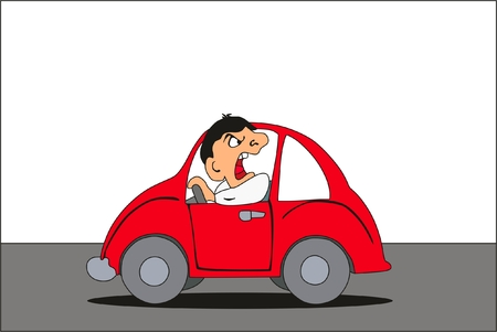 Aggressive Driver fighting on others while driving concept in red car on the road showing wrong behavior cartoon comic style character for people education