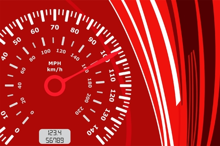 Speedometer on abstract red background showing speed in miles and kilometers