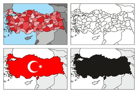Republic of Turkey Maps Collection Sets including administrative political flag silhouette with all provinces for geography education Banco de Imagens - 82108743