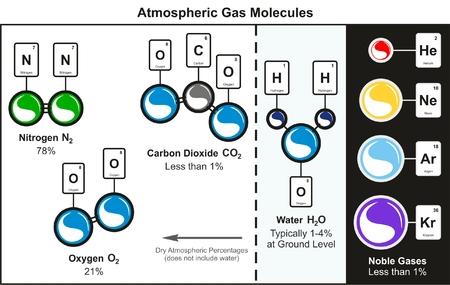 Infographic-Diagramm für atmosphärische Gasmoleküle, einschließlich Stickstoff, Sauerstoff, Kohlendioxid, Wasser und gängigen Edelgasen, die unsere Luft für die Ausbildung in Chemie und Umweltwissenschaften bilden