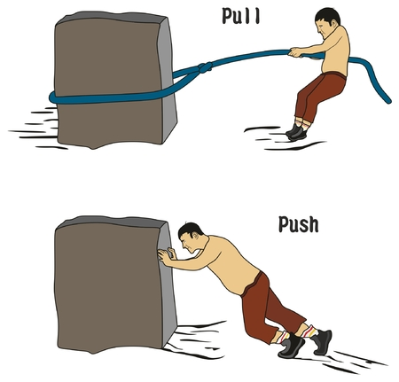 Pull and Push Concept for education conceptual drawing showing man pulling heavy stone using rope while other pushing it