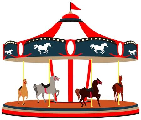 Merry Go Round Game cartoon illustration a traditional carousel with horses Ilustração