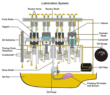 Vehicle Lubrication System infographic diagram showing cross section of car engine with all parts and path of lubricant oil and pan filter and gauge for mechanical and road safety awareness education Çizim