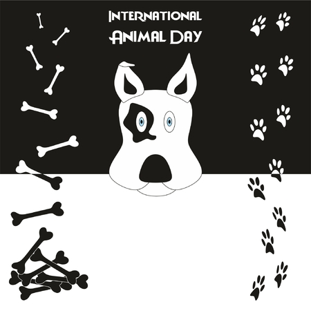 International Animal Day Background with nice beautiful design a head of dog at the middle bones and footprints at side Ilustração