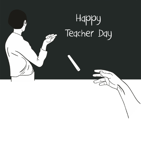 International Teacher Day Background funny concept showing hand of student throwing chalk on teacher reading the words on the blackboard Ilustração
