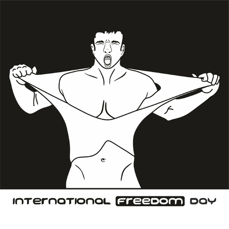 International freedom day Concept showing a conceptual drawing of a man tearing his shirt