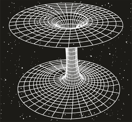 The Relativity Theory Concept showing a sketch of black hole or wormhole with space field background filled with stars and relation between time energy mass light speed for physics science education Vectores
