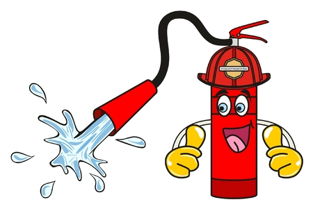 Cartoon Character Fire Extinguisher giving both thumbs up and water coming out safety and firefighter concept Vectores
