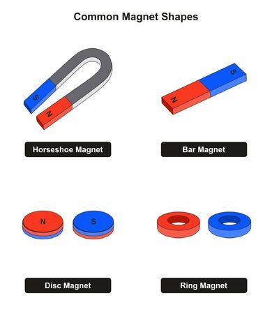 Esempi di forme di magneti comuni, tra cui disco e anello a barra a ferro di cavallo con poli nord e sud per l'insegnamento delle scienze fisiche