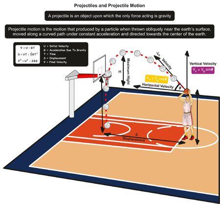 Diagramma infografico di proiettili e movimento dei proiettili con un esempio di giocatore di basket che lancia la palla in rete per l'educazione alla scienza della fisica Vettoriali