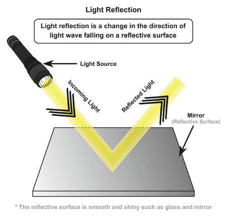 Infografik-Diagramm zur Lichtreflexion mit Beispiel einer Lichtquelle, bei der einfallende Strahlen auf einer glatten glänzenden Spiegeloberfläche für den Physikunterricht reflektiert werden