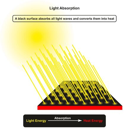 Light Absorption infographic diagram showing sun as a light source and incoming light rays hitting dark object surface which absorb it and convert it to heat energy for physics science education