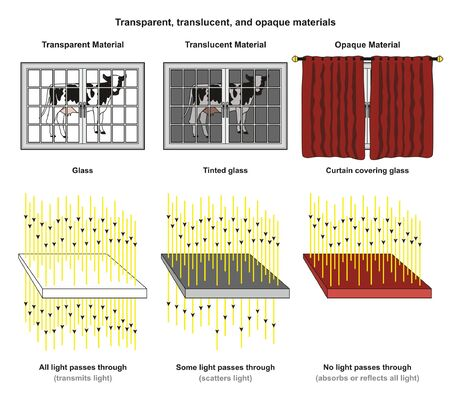 Transparent Translucent and Opaque Materials infographic diagram with examples of glass tinted glass and curtain and light transmit scatter absorb or reflect for physics science education Vectores