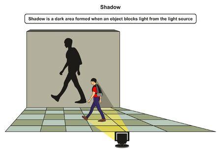 Diagramma di infografica ombra con esempio di ragazzo che blocca la luce dalla sorgente luminosa e forme d'ombra sulla parete di fondo per l'educazione scientifica in fisica Vettoriali