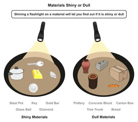 Materials Shiny or Dull infographic diagram showing examples of both when shining flashlight on it including steel pot gold bar key diamond glass ball pottery block box for physics science education 스톡 콘텐츠 - 130476323