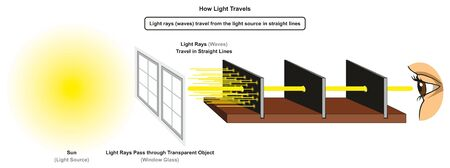 How Light Travels infographic diagram showing light source sun and rays pass through transparent object window glass in straight lines for physics science education 스톡 콘텐츠 - 130476334