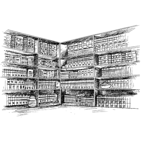 Book Shelf, Book Library Illustration