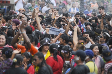 HATYAI,THAILAND - APRIL 25 Unidentified Thai people celebrate Songkran in Songkran Festival 2012 water festival at Hatyai on April 25,2012 in Hatyai, Thailand