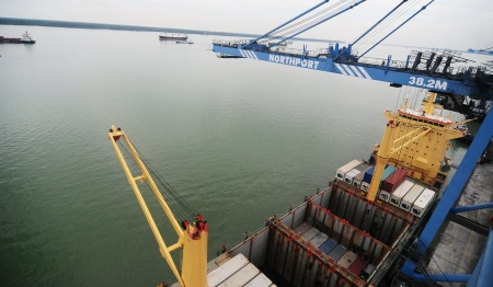 forwarder: KLANG-MALAYSIA, FEB. 29: The Port of North Port on Feb. 29, Klang. It is one of the worlds ten busiest ports located on the Malacca strait Sea in the vicinity of Klang, Malaysia