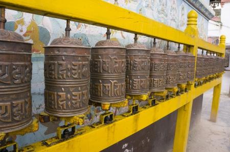 Buddhist prayer wheels photo