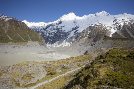 newzealand: Beautiful view during walk to glacier in Mount Cook National Park, South Island, New Zealand Stock Photo