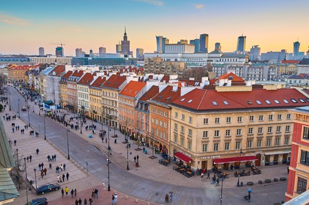 european culture: Panoramic view of Warsaw at sunset, early spring Editorial