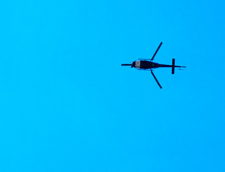 gravitation: helicopter over the city, Poland Stock Photo