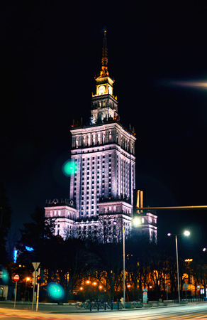 abbreviated: Warsaw, Poland - March 28, 2016: The Palace of Culture and Science, Polish: Palac Kultury i Nauki, also abbreviated PKiN, is a notable high-rise building in Warsaw, Poland. Editorial