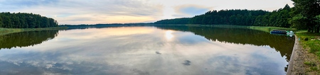 Beautiful panoramic view of the sunset over Lemiet lake in Mazury lake district, Poland. Lake landscape at sunset, fantastic travel destination. Masuria Polish: About this sound Mazury, German: Masuren is a region in northern Poland famous for its 2,000 l Stock Photo