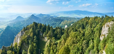 Beautiful panoramic view of the Pieniny National Park, Poland in sunny september day from Trzy Korony - English: Three Crowns, Slovak: Tri koruny - is the summit of the Three Crowns Massif. Pieniny National Park - Polish: Pieninski Park Narodowy - is a pr