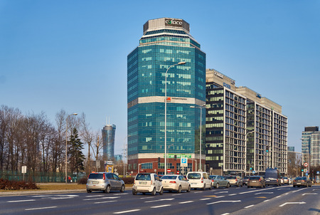 combines: Warsaw, Poland - March 05, 2017: Coface Poland Office Building is a neomodern office building, combines elegance and functionality
