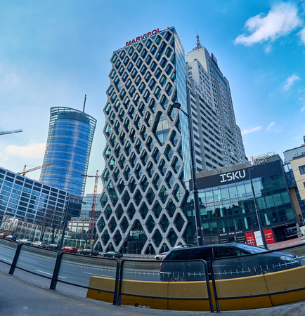 prestigious: Warsaw, Poland - March 05, 2017: Prosta Tower office building is a neomodern office building, combines elegance and functionality, in the most prestigious office location in Warsaw.