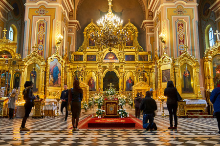 Warsaw, Poland - April 16, 2017: Interior of the Cathedral of St. Mary Magdalene, during the Holy Easter