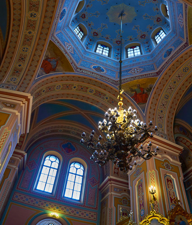 Interior of the Cathedral of St. Mary Magdalene, during the Holy Easter, vertical panoramic view, Warsaw, Poland.