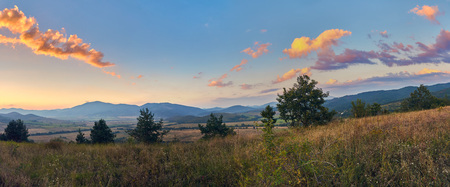 Beautiful sunset in the mountains, north-western Bulgaria, near the Busintsi village and Tran city, panoramic view, BG