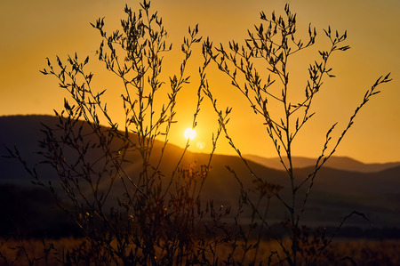 Beautiful sunset in the mountains, north-western Bulgaria, near the Busintsi village and Tran city, BG
