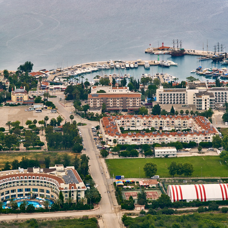 ship anchor: KEMER, TURKEY - MAY 31, 2017: Panoramic view on Old marina - most popular tourist place, cozy cafes, luxury restaurants, green park and landmarks
