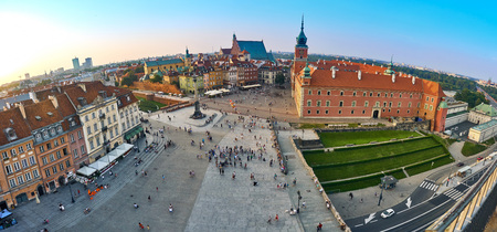 Warsaw, Poland - August 11, 2017: Beautiful aerial panoramic view of Plac Zamkowy square in Warsaw, with historic building, including Sigismund III Vasa Column, and people at summer sunset, Warsaw, Poland. Krakowskie Przedmiescie is one of the best known  Editorial