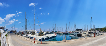 ship anchor: KEMER, TURKEY - MAY 21, 2017: Panoramic view on Old marina - most popular tourist place, cozy cafes, luxury restaurants, green park and landmarks