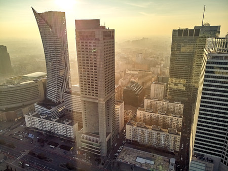 WARSAW, POLAND - DECEMBER 01, 2018: Beautiful panoramic aerial view of the city of Warsaw and Palace of Culture and Science - a notable high-rise building in Warsaw, Poland 新闻类图片