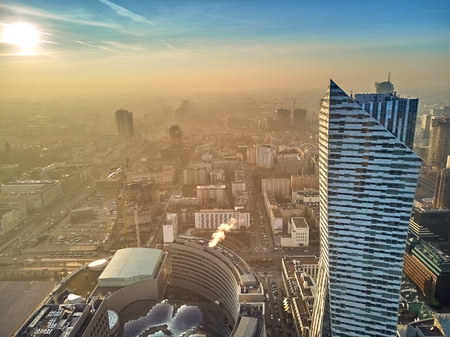 WARSAW, POLAND - DECEMBER 01, 2018: Beautiful panoramic aerial drone view to the center of Warsaw City and Zlota 44, residential skyscraper designed by American architect Daniel Libeskind